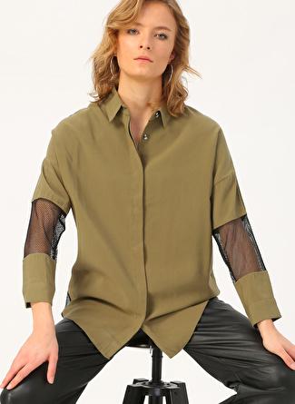 Quzu File Kol Detaylı Haki Kadın Gömlek