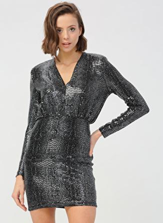 Quzu Siyah Pullu Elbise