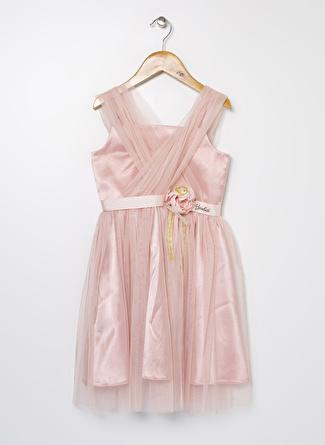 Barbie Kız Çocuk Tüllü Açık Pembe Elbise