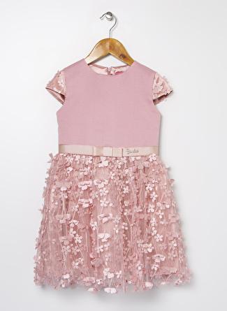 Barbie Kız Çocuk Tafta Pembe Elbise