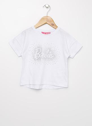 Barbie Kız Çocuk Taşlı Beyaz T-Shirt