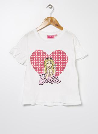 Barbie Kız Çocuk Baskılı Ekru T-Shirt