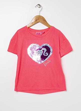 Barbie Kız Çocuk Baskılı Neon Pembe T-Shirt