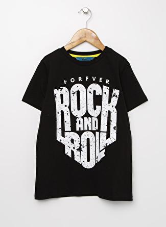 Funky Rocks Erkek Çocuk Baskılı Siyah T-Shirt
