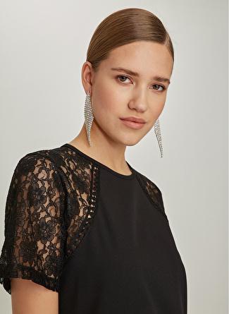 NG Style Omuzları Dantel Detaylı Siyah Elbise