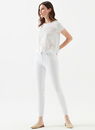 Mavi Tess White Embro Denim Pantolon
