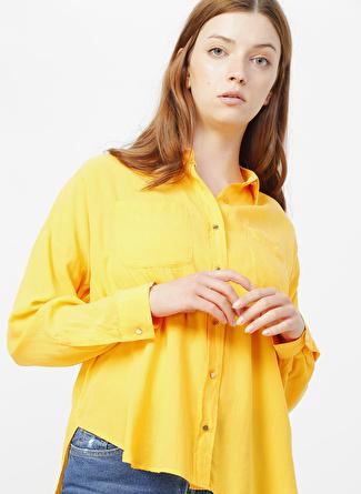 Mavi Uzun Kol Amber Sarısı Gömlek