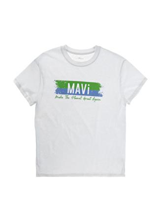 Mavi Beyaz Baskılı T-Shirt