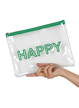 Bakras Yeşil Happy Şeffaf Makyaj Çantası