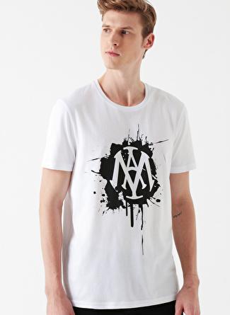 Mavi Mühür Logo Baskılı Beyaz T-Shirt