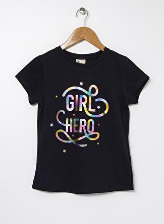 Buse Terim Kız Çocuk Varak Baskılı Lacivert T-Shirt