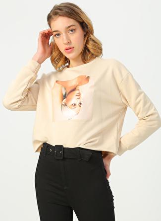 Quzu Bej Baskılı Sweatshirt