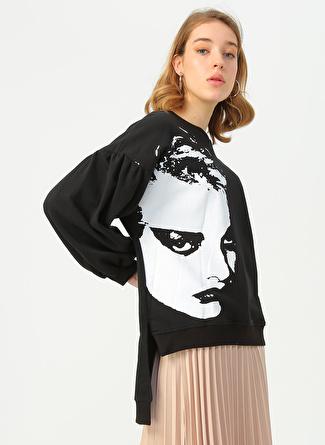 Quzu Siyah Baskılı Sweatshirt