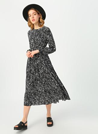 Quzu Siyah Desenli Elbise
