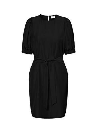 Fabrika Copenhagen Fabrika x Copenhagen Beli Kemerli BalonKol Siyah Elbise