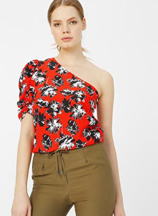 Random Kırmızı Desenli Bluz