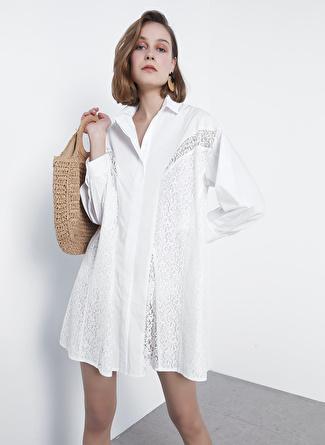 İpekyol Beyaz Dantelli Tunik