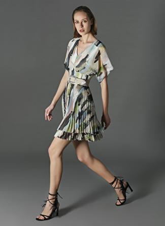 İpekyol Desenli Piliseli Elbise