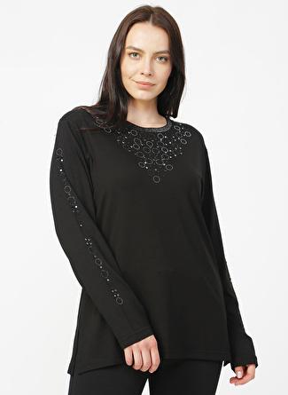 PAPİLLA Siyah Taş Baskılı Bluz