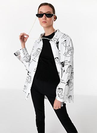 Twist Baskılı Oversize Gömlek