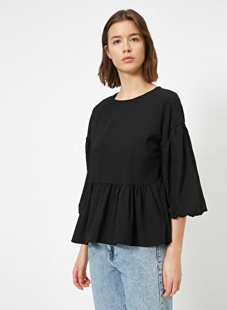 Koton Balon Kollu Fırfırlı Siyah Bluz