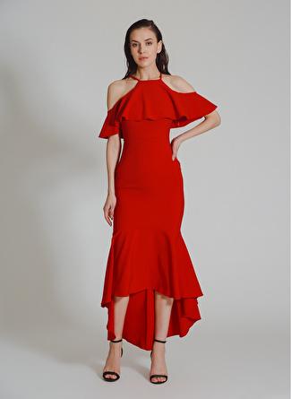 People By Fabrika Volanlı Kırmızı Elbise