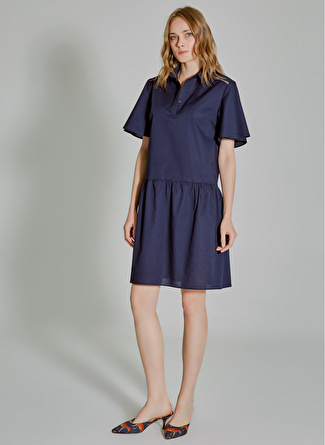 People By Fabrika Oversize Lacivert Elbise
