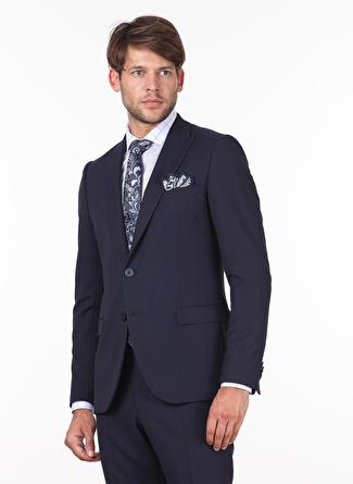 Kip Slim Fit Desenli Lacivert Takım Elbise