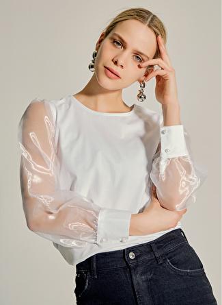 NG Style Kolları Organze Detaylı Poplin Beyaz Bluz