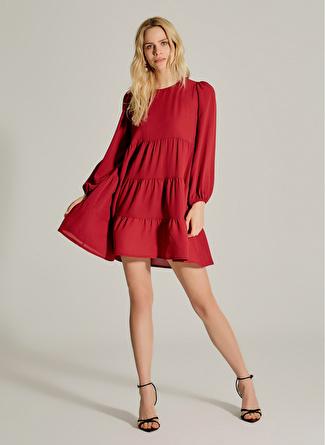 NG Style Büzgülü Balon Kollu Bordo Elbise