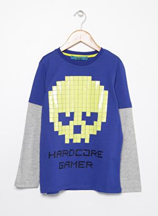 Funky Rocks Baskılı Saks Erkek Çocuk T-Shirt