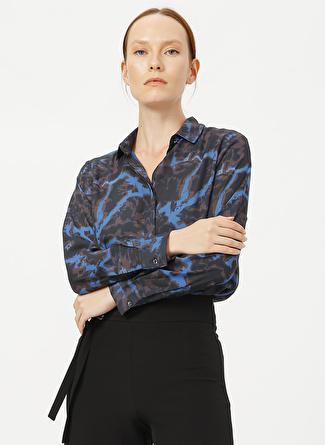 Fabrika Comfort Gömlek Yaka Desenli Lacivert - Siyah Gömlek