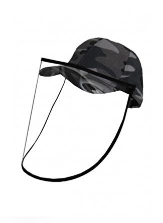 Bay Şapkaci Koruyucu Yüz Siperli Gri Şapka