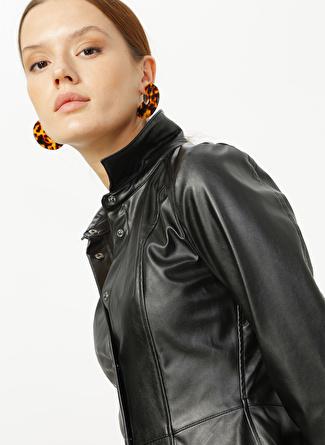 Fabrika Gömlek Yaka Düz Siyah Elbise