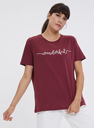 Loft Regular Fit Bordo Kadın T-Shirt