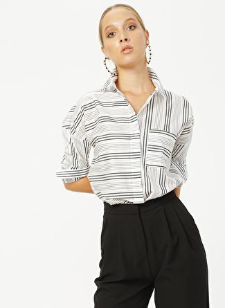 Network Siyah Beyaz Çizgili Gömlek