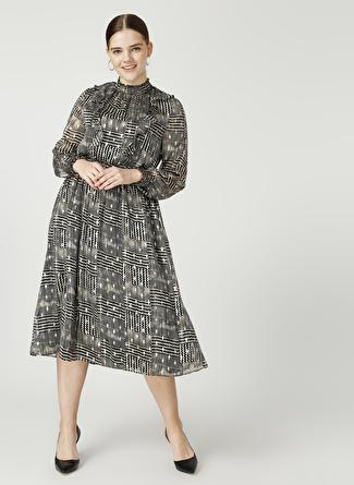Ekol Siyah Desenli Elbise