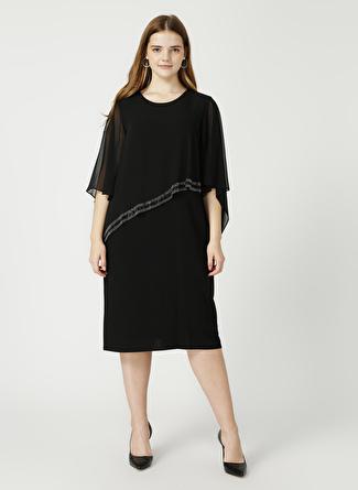 Selen Siyah Üstü Şifonlu Elbise