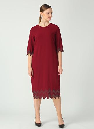 Selen Bordo Etek Ucu Taşlı Elbise