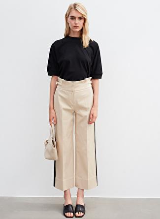 İpekyol Şerit Detaylı Bol Paça Bej Pantolon