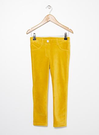 Benetton Hardal Sarısı Kadife Kız Çocuk Pantolon
