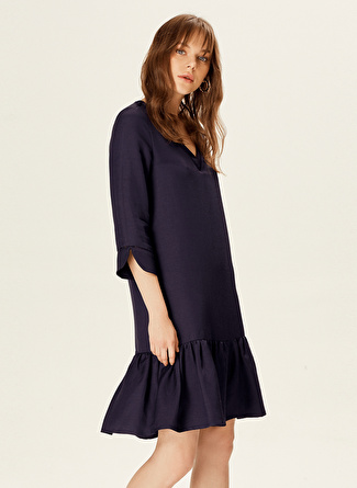 Naramaxx V Yaka Lacivert Elbise