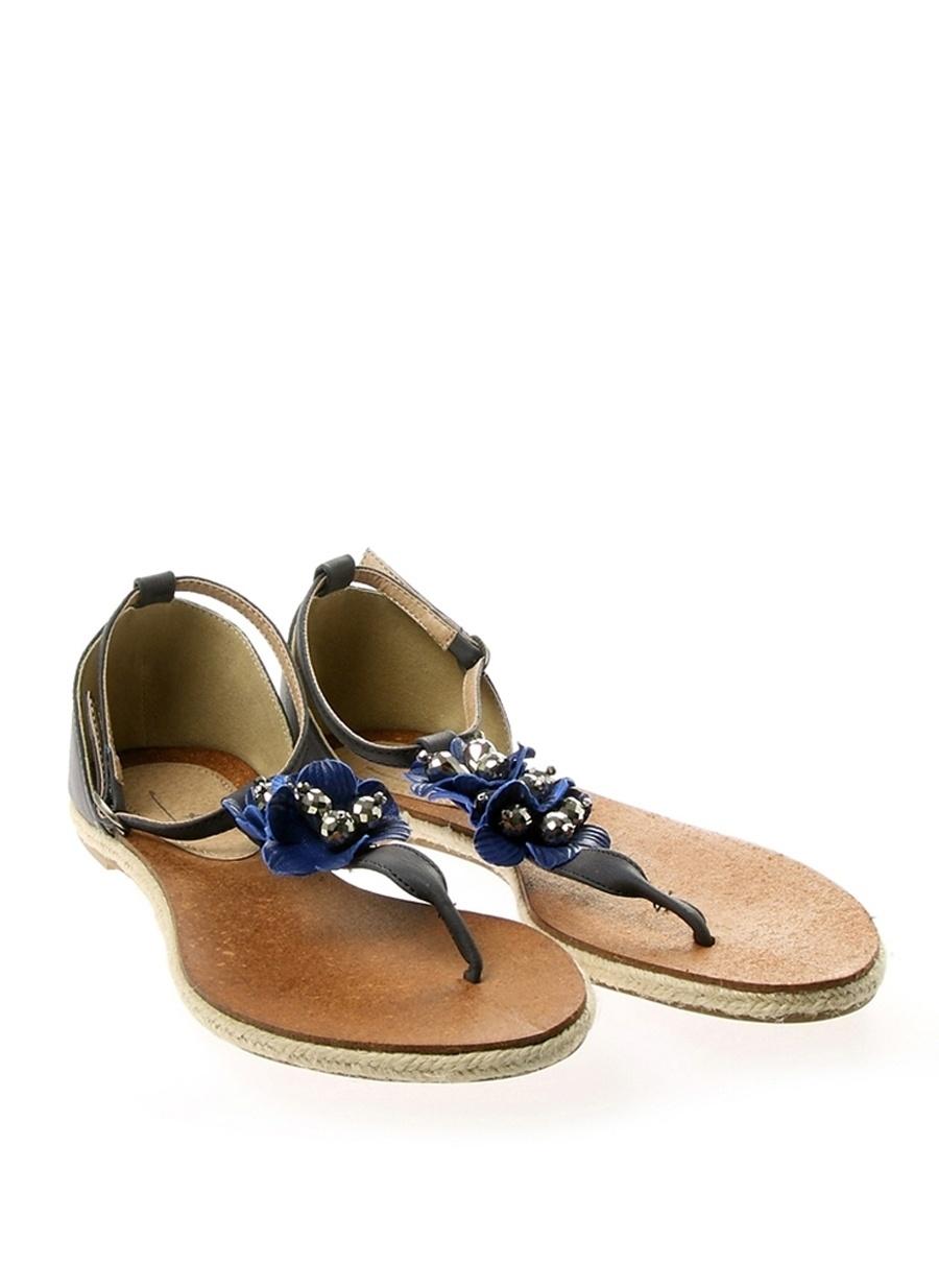 38 Koyu Lacivert Pi Sandalet Kadın Terlik