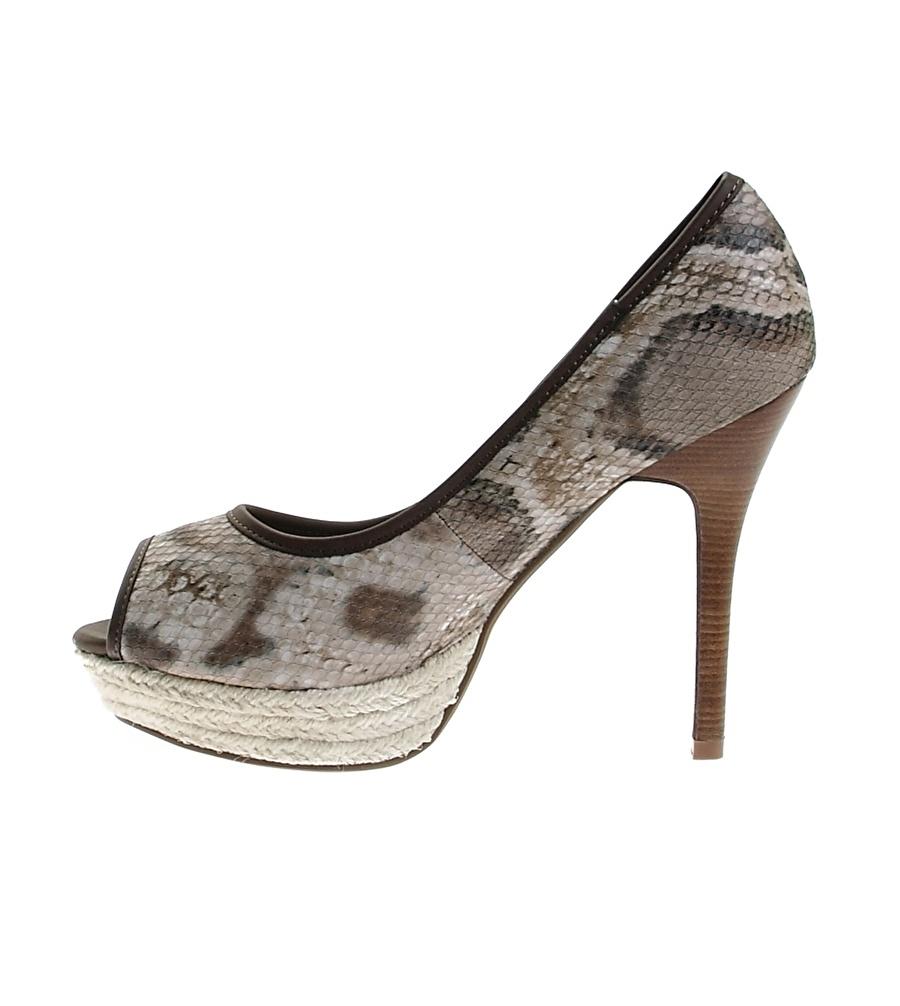 38 Açık Kahve Ves Deri Topuklu Ayakkabı Çanta Kadın
