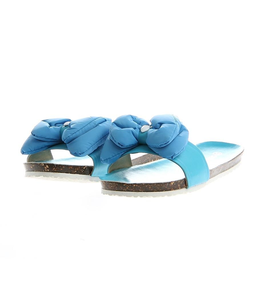 40 Mavi Ves Deri Terlik Ayakkabı Çanta Kadın Sandalet