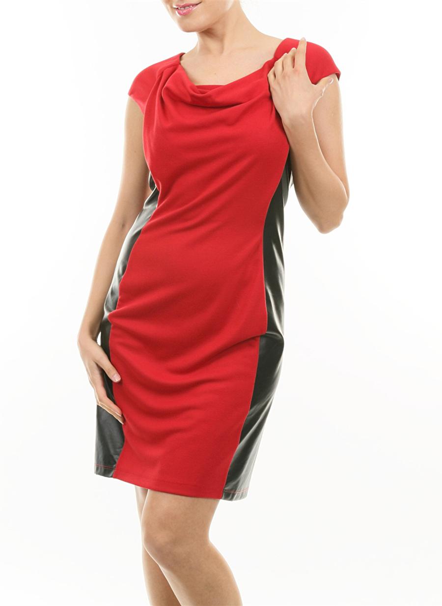 M Kırmızı Caramel Elbise Kadın Giyim