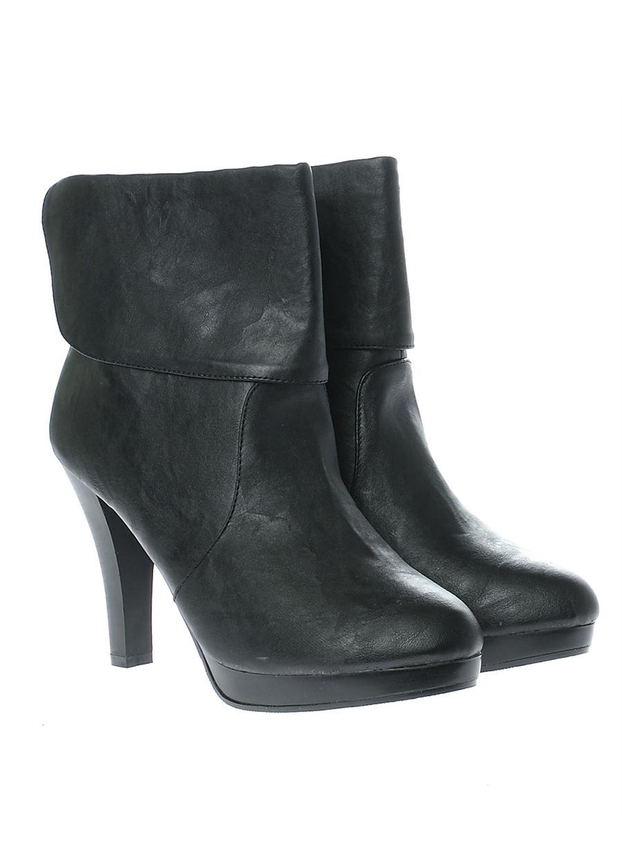 38 Siyah Ves Deri Bot Ayakkabı Çanta Kadın Çizme