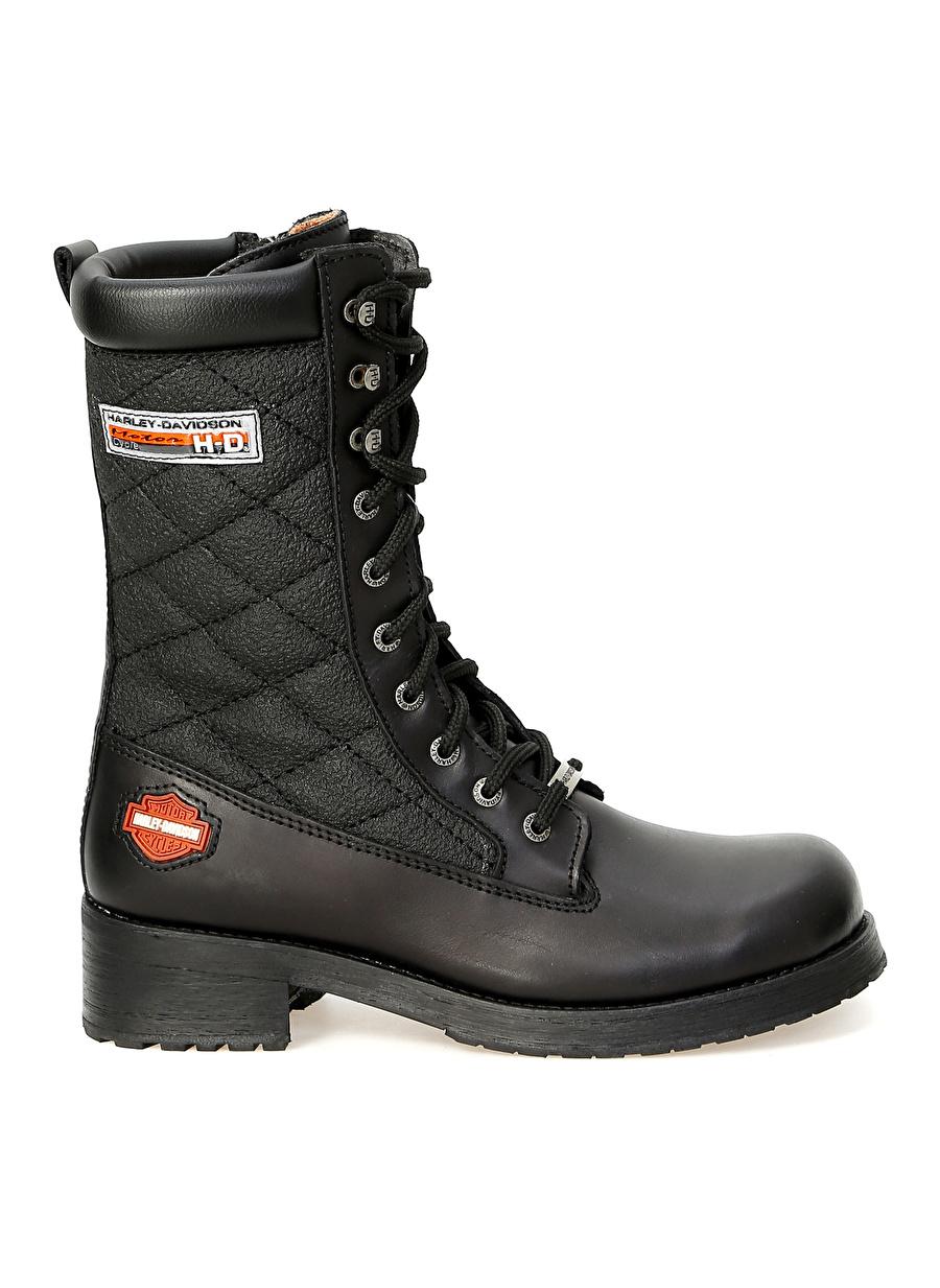40 Siyah Harley Davidson Kadın Deri Bot Ayakkabı Çanta Çizme