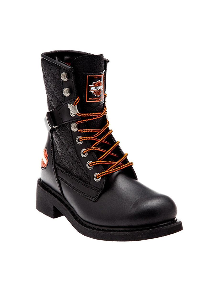 39 Siyah Harley Davidson Deri Bağcıklı Bot Ayakkabı Çanta Kadın Çizme