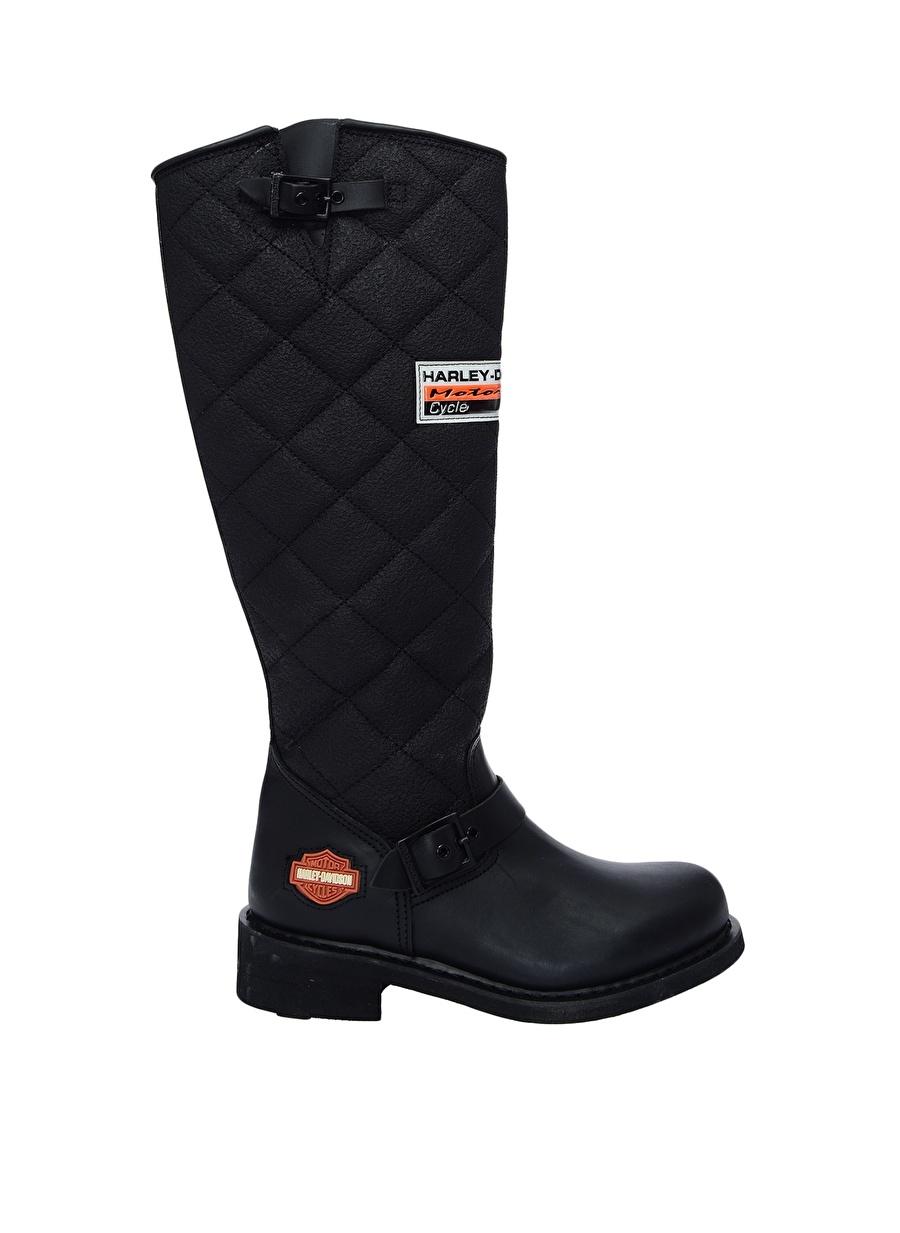 39 Siyah Harley Davidson Laconia Çizme Ayakkabı Çanta Kadın Bot